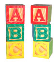 Abc alphabet blocks isolated colorful stacked Royalty Free Stock Photography