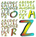 Abc alphabet lettering design aberration combo characters sets arranged by style Royalty Free Stock Photography