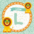 ABC animals L is lion. Childrens english alphabet. Vector