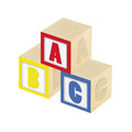 Abc blocks wooden isolated on white Royalty Free Stock Photos