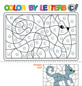 ABC Coloring Book for children. Color by letters. Learning the capital letters of the alphabet. Puzzle for children. Letter C. Cat