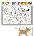 ABC Coloring Book for children. Color by letters. Learning the capital letters of the alphabet. Puzzle for children. Letter D. Dog