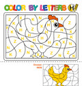 ABC Coloring Book for children. Color by letters. Learning the capital letters of the alphabet. Puzzle for children. Letter H. Hen