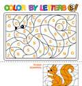ABC Coloring Book for children. Color by letters. Learning the capital letters of the alphabet. Puzzle for children. Letter S. Squ