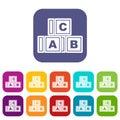 ABC cubes icons set flat