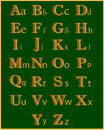 Abc english alphabet on a green background Royalty Free Stock Images