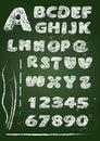 ABC - English alphabet written on a blackboard in white chalk - Royalty Free Stock Photo