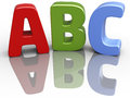 Abc font alphabet education letters as elementary red green blue d objects Stock Photo