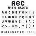 ABC font with slots, black on white background Stock Images