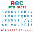 ABC font with slots, color on white background Royalty Free Stock Image