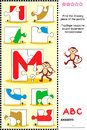 Abc learning educational puzzle letter m monkey what s missing visual to learn with fun the letters of english alphabet is for Stock Photo