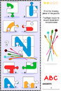Abc learning educational puzzle letter n needles what s missing visual to learn with fun the letters of english alphabet is for Royalty Free Stock Image
