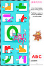ABC learning educational puzzle - letter O (octopus, owl) Royalty Free Stock Photo