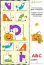 Abc learning educational puzzle letter p pumpkin what s missing visual to learn with fun the letters of english alphabet is for Royalty Free Stock Images