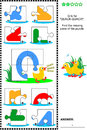 Abc learning educational puzzle letter q quack quack what s missing visual to learn with fun the letters of english alphabet is Royalty Free Stock Photo
