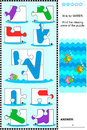 Abc learning educational puzzle letter w water what s missing visual to learn with fun the letters of english alphabet is for Royalty Free Stock Image