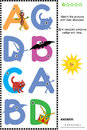 Abc learning shadow game with letters a b c d visual educational puzzle to learn fun the of english alphabet match pictures of ant Royalty Free Stock Images