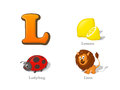 ABC letter L funny kid icons set: lemon, ladybug, lion
