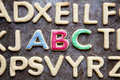 ABC letter shaped cookies close up Royalty Free Stock Photo