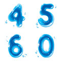 ABC series - Water Liquid Numbers - 4 5 6 0 Stock Photography