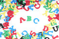 Abc spelled out with colorful songe rubber letters Stock Photography