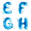 ABC - Water Liquid Letter Set - Capital E F G H Royalty Free Stock Photos