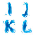 ABC - Water Liquid Letter Set - Capital I J K L Royalty Free Stock Photo