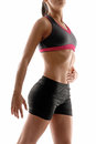 Abdominal woman young fitness touching her muscle Stock Photos