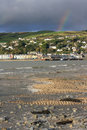 Aberdovey with Rainbow Stock Photo