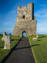 Aberystwyth castle wales the north tower gateway at with the irish sea behind ceredigion Royalty Free Stock Photos