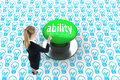 Ability against digitally generated green push button Royalty Free Stock Photo