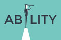 Ability concept vector illustration with business man looking through telescope from a cliff.