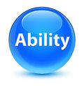 Ability glassy cyan blue round button
