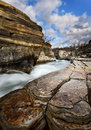 Abisko canyon in sweden with the river through the Stock Photography
