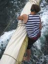 Seaman working aloft Royalty Free Stock Photo