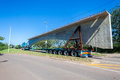 Abnormal truck trailer bridge section load of fifty ton new concrete being moved onto umgeni durban south africa Royalty Free Stock Photo