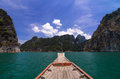 Aboard at khaosok thailand s guilin in ratchaprapha dam Royalty Free Stock Images