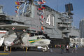 Aboard uss midway museum in san diego the flight deck of the located bay california Stock Photography
