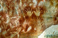 Aboriginal art carnarvon gorge stencils by people several thousands of years old wide shot Stock Photos