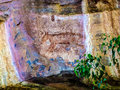 Aboriginal art representations in dreamtime stories tasmanian tiger depicted here ubirr kakadu nt australia Stock Photos