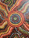 Aboriginal artwork original found on building at local school Stock Photography