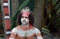 Aboriginal culture show in queensland australia portrait of one yugambeh warrior man covered with body painting during during Royalty Free Stock Image