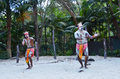 Aboriginal culture show in queensland australia two yugambeh warriors dance during Royalty Free Stock Photos