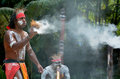 Aboriginal culture show in queensland australia yugambeh warrior demonstrate fire making craft during Stock Photos