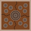 Aboriginal style of dot painting depicting circle. Royalty Free Stock Image