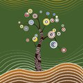 Tree on the hill, Aboriginal tree, Aboriginal art vector painting with tree. Illustration based on aboriginal style of dot paintin Royalty Free Stock Photo