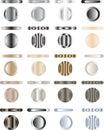Abotone, conjunto de los botones que son metal y luz Fotos de archivo libres de regalías