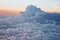 Above the clouds sky view at sunset Royalty Free Stock Image