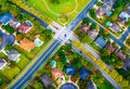 Above Intersection in Suburban Neighborhood outside Austin Texas Aerial View Royalty Free Stock Photo