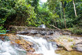 Above of punyaban waterfall is in lamnamkraburi national park ranong thailand walk from first floor about m Stock Photos